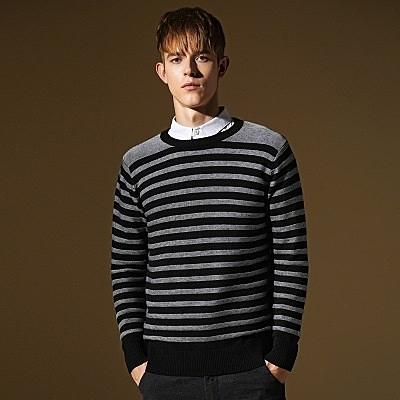 長袖針織衫-簡約迷人線條造型男針織毛衣2色73ik60[時尚巴黎]