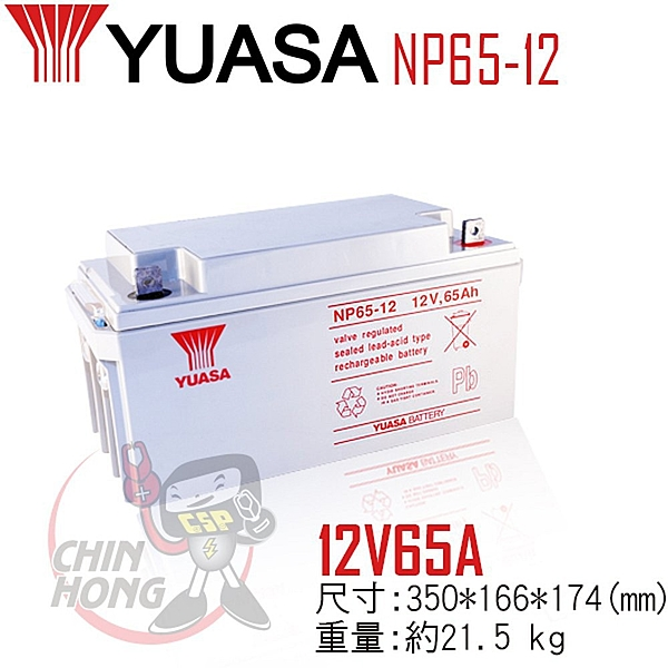 YUASA湯淺NP65-12 適合於小型電器、UPS備援系統及緊急照明用電源設備