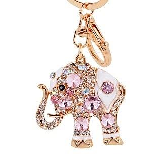 【RJNEWYORK】韓版創意流行可愛大象閃耀光芒鑲鑽鑰匙圈(黑色粉色藍色紫色香檳色七彩色6色可選)
