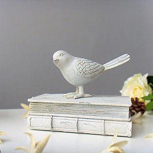 白色小鳥站書本仿舊客廳樹脂擺件