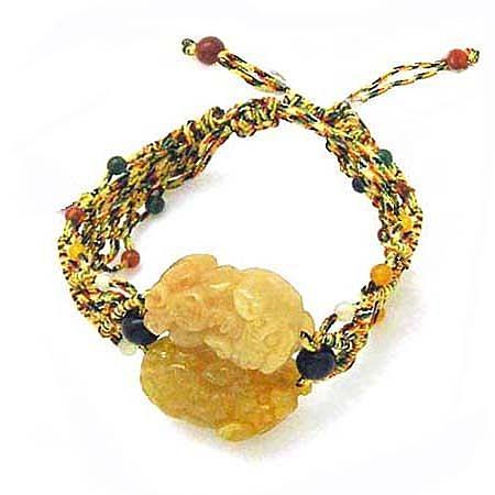 黃玉貔貅五色線手環
