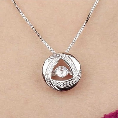項鍊 純銀鍍18K金鑲鑽吊墜-亮眼氣質生日情人節禮物女飾品2色73ck16【時尚巴黎】