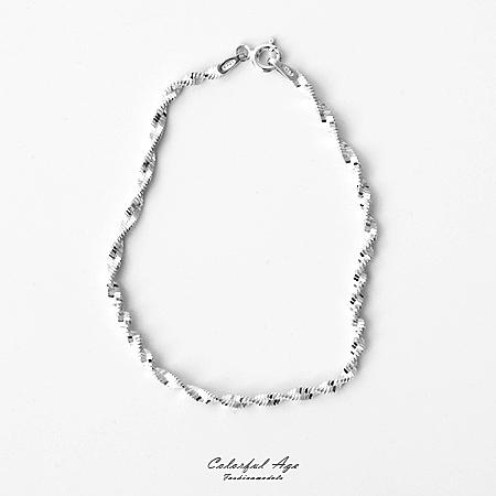 925純銀手鍊 旋轉感細螺旋紋手環 完美細緻質感 可混搭手錶或單配【NPA13】迷人魅力