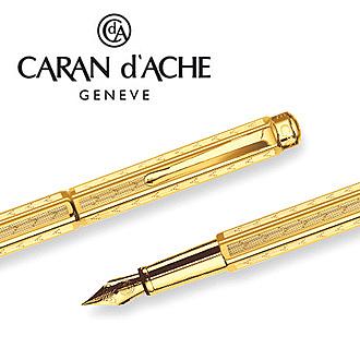 【預購,請先來電洽詢庫存】CARAN d'ACHE 瑞士卡達 ECRIDOR 艾可朵V型麥紋鋼筆(鍍金GLIT)-M / 支