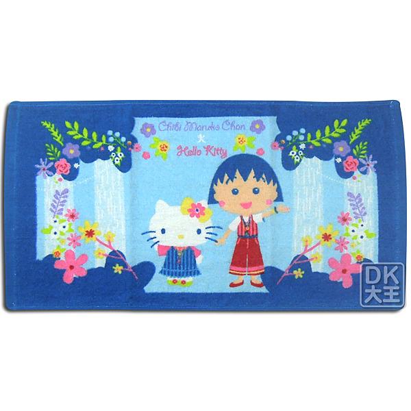 Kitty 櫻桃小丸子 聯名童巾 波西米亞款 兒童毛巾 ~DK襪子毛巾大王