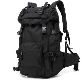 QTMIAO-Bags 屋外大容量のダブルショルダーバックパックの男性のアウトドアレジャー旅行登山バッグ迷彩バックパック (Color : Black)