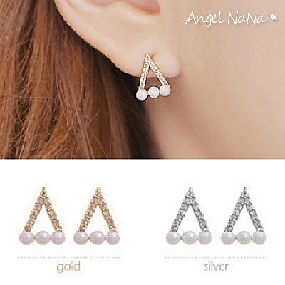 925純銀耳環。AngelNaNa  三角微鑲珍珠貝珠-耳釘耳針耳飾銀飾 (SRA0505)