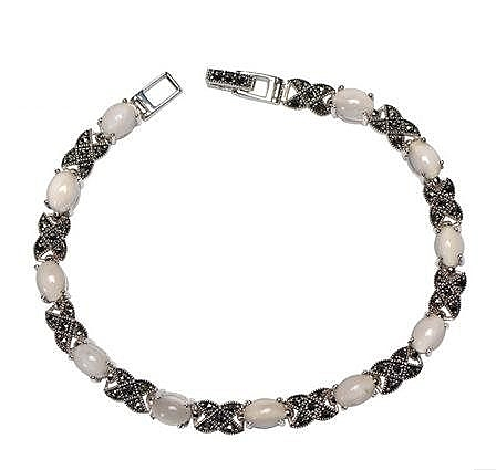 銀首飾品 月光寶石女長款手鏈 白色連珠