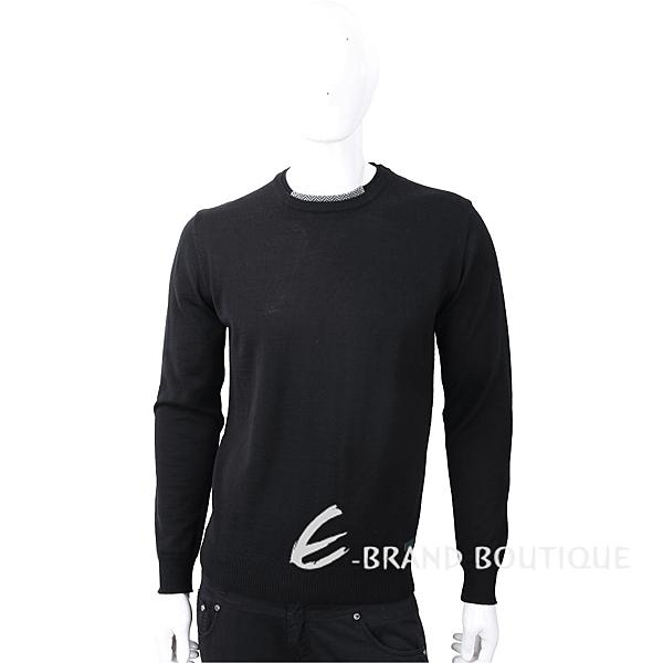 TRUSSARDI 撞色織紋領細節皮革標籤黑色針織羊毛衫 1810249-01