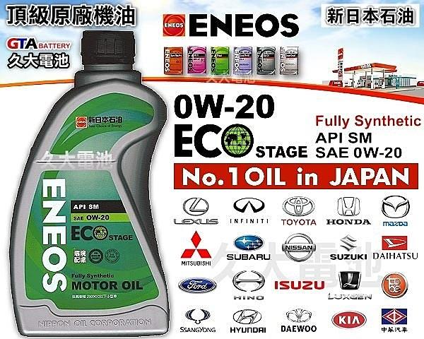 ✚久大電池❚ ENEOS 新日本石油 0W-20 0W20 ECO STAGE 日本車原廠最高等級機油 (12瓶一組免運)