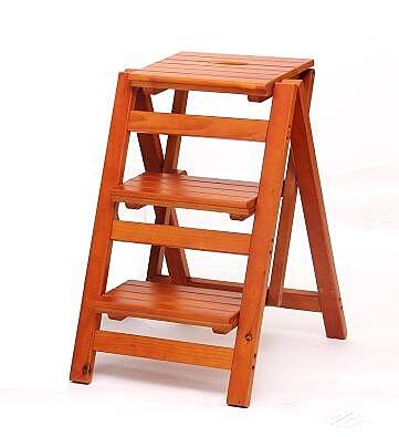 實木家用多功能折疊梯架創意樓梯椅梯凳室內多用單只價【三層折疊梯淺胡桃色】