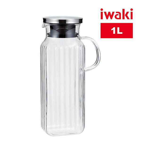 【iwaki】日本品牌不鏽鋼系列玻璃把手方形耐熱玻璃水壺-1L