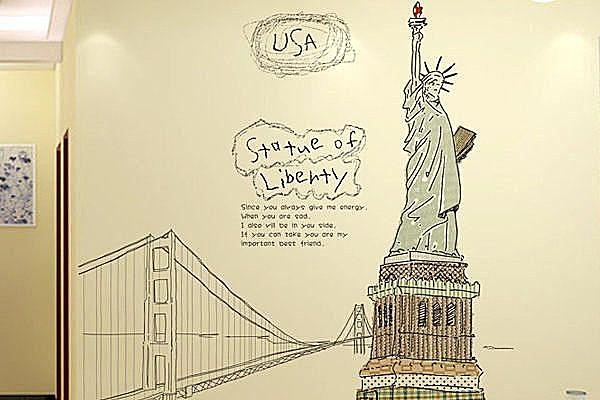 高品質創意牆貼/壁貼/背景貼/磁磚貼/壁貼樹 時尚組合壁貼 自由女神【YP1974】BO雜貨