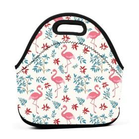 美しいフラミンゴランチバッグ、厚手の断熱ランチボックスバッグ、子供旅行ピクニックオフィスのジッパー閉鎖付きトートボックス
