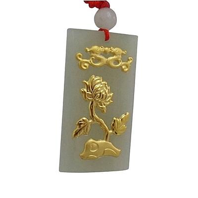 金鑲玉項鍊 和闐玉吊墜-精美菊花生日情人節禮物男女飾品73gf101【時尚巴黎】