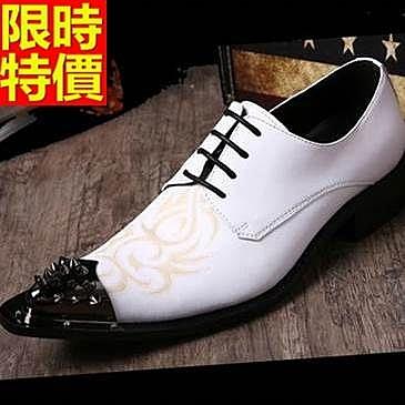 男真皮皮鞋-復古繡花鉚釘鞋頭低跟男尖頭鞋65ai30【巴黎精品】