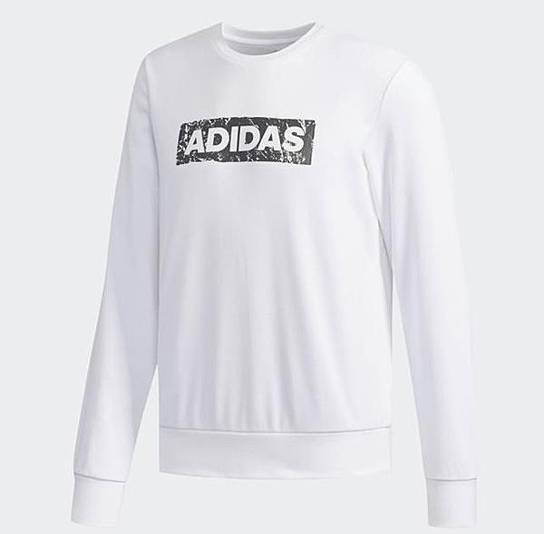 Adidas CREW SWT LOGO 男款白色長袖上衣-NO.DW4606