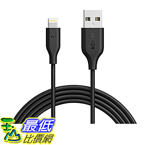 [106美國直購] Anker PowerLine 6ft Lightning Cable Apple MFi Certified Lightning(Black)充電線 傳輸線