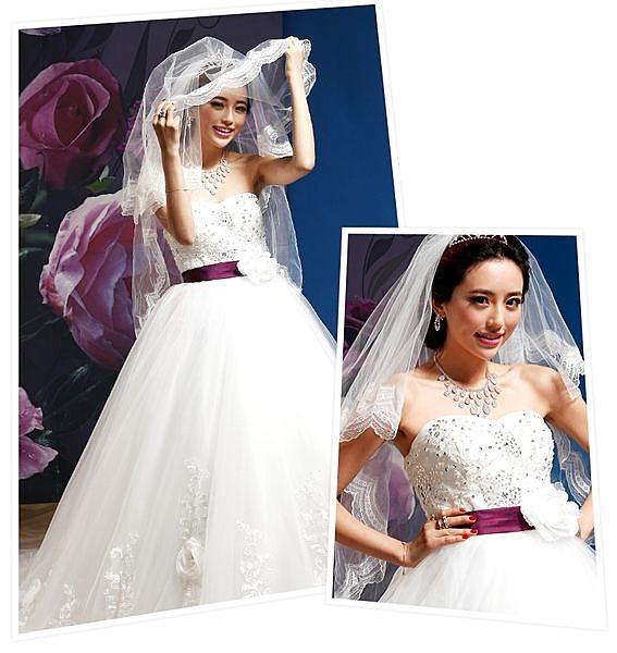 蕾絲新款婚紗頭紗超長80cm結婚韓式婚禮長款軟頭紗-108792002314
