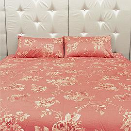 碧多妮寢飾-橘粉墨染玫瑰-60支紗精梳綿-標準床包-[9218豆沙]