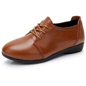 [ヤク] レースアップシューズ レディース プラットフォームシューズ 靴 エナメル 26.5cm オックスフォードシューズ 厚底シューズ 無地 かっこいい ドレスシューズ マニッシュシューズ ビジネス 通勤 ブラウン 通学 おじ靴