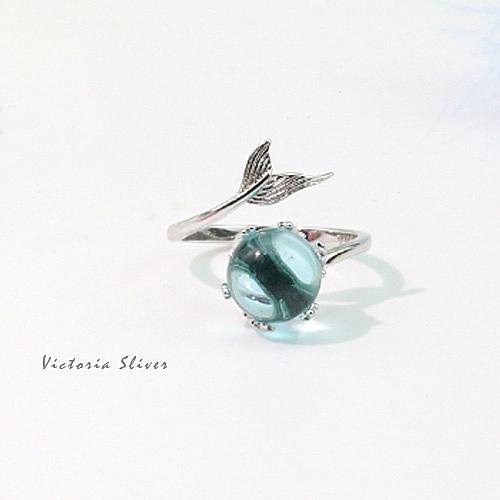 S925銀 唯美透藍 海底珍珠人魚戒指-維多利亞180858