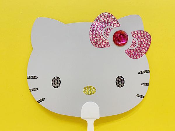 【震撼精品百貨】Hello Kitty 凱蒂貓~凱蒂貓 HELLO KITTY扇子附鏡-大頭#95866