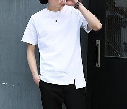 找到自己 MD 韓國 潮 男 時尚 純棉 純色素面 簡約 開叉不規則 短袖T恤 打底衫 上衣