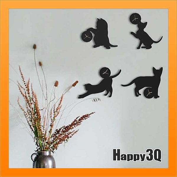 小貓時鐘調皮貓掛鐘北歐時鐘極簡造型文創意剪影房間裝飾個性貓咪時鐘-黑/白【AAA3305】預購