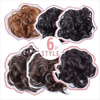 【頭髮增量】仿真髮高溫絲捲髮日式髮包頭(具鬆緊繩)(6色) [45897]