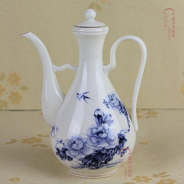 陶瓷家用小酒壺250ml   白酒杯 青花牡丹
