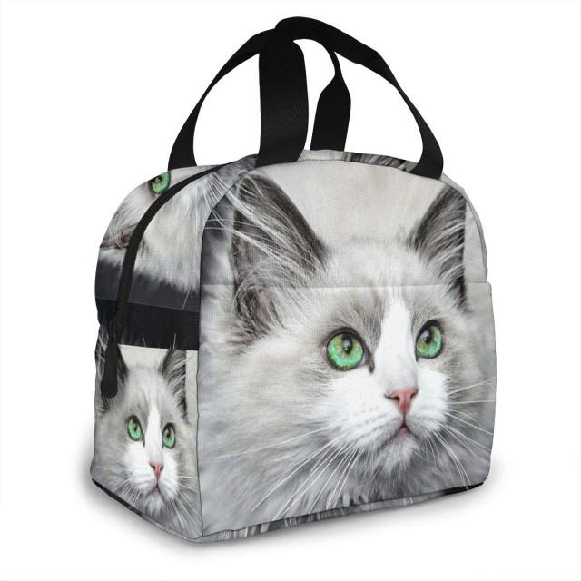 保冷バッグ 白猫 緑の眼 手提げ