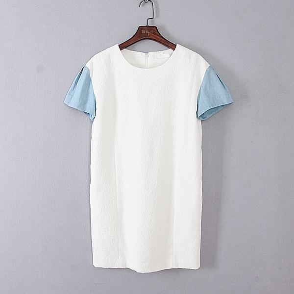 [超豐國際]面春夏裝女裝白色韓版直筒休閑連衣裙 44924(1入)
