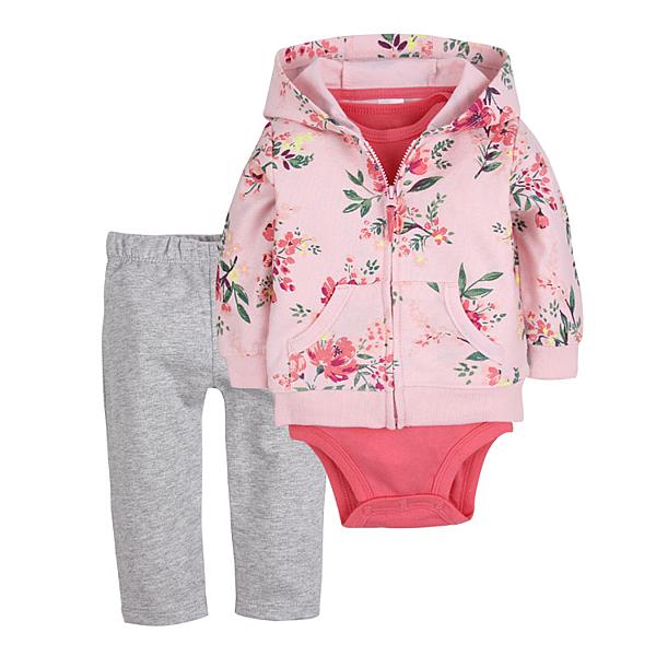 女Baby女童套裝三件式可愛粉色印花純棉套裝含包屁衣外套及長褲現貨歐美品質
