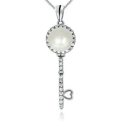 項鍊 925純銀 珍珠吊墜-鑰匙鑲鑽生日情人節禮物女飾品73dh8【時尚巴黎】