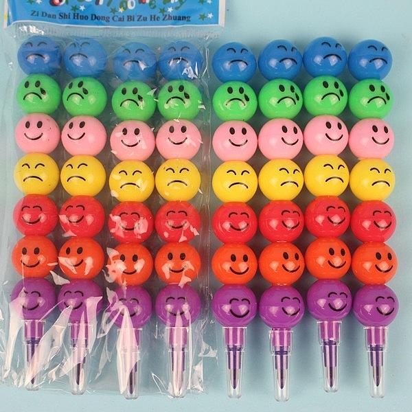 4支入笑臉彩虹筆 7色笑臉蠟筆/一包4支入(定40) 笑臉免削色筆-AA5930