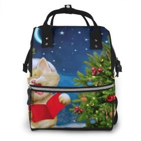 ミイラバッグ トートバッグ マザーズバッグ ママバッグ マザーズリュック カワイイねこ クリスマス ベビー用品収納 おむつポーチ 大容量 ポケット付き