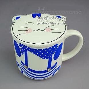 陶瓷貓咪帶蓋馬克杯