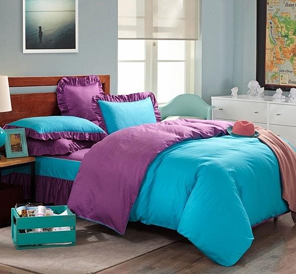 雙拼純色四件套 床上用品 純棉簡約 被套 床裙式1.5
