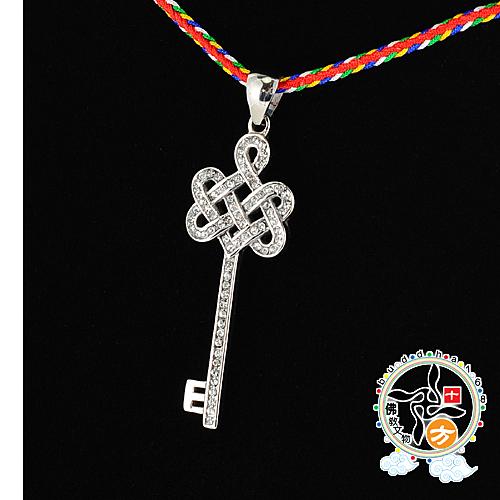 吉祥之鑰{鋼鑲鑽}項鍊  +3D小佛卡【十方佛教文物】