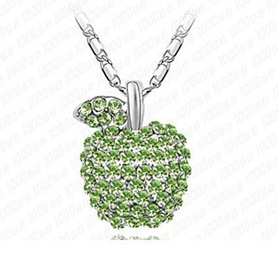 925純銀項鍊 鑲鑽墜飾-可愛蘋果生日情人節禮物女飾品3色73aj338【巴黎精品】