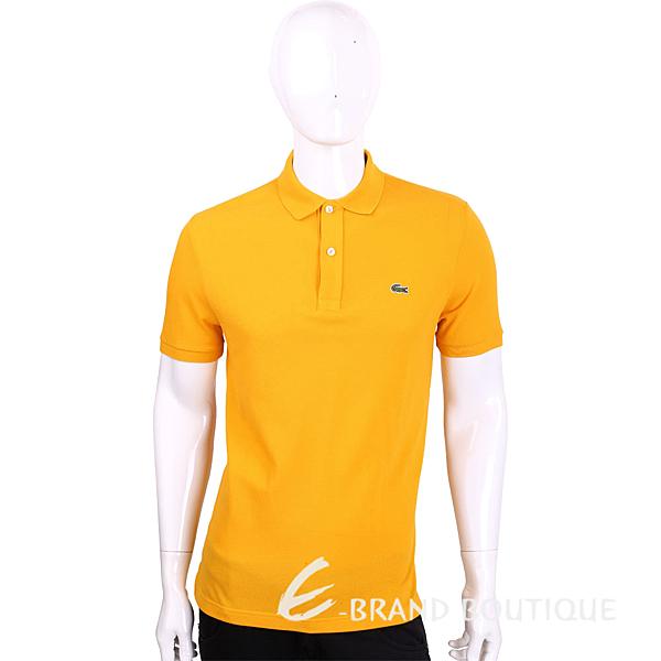 LACOSTE Slim Fit 橘黃色網眼修身短袖POLO衫(男款) 1630055-66