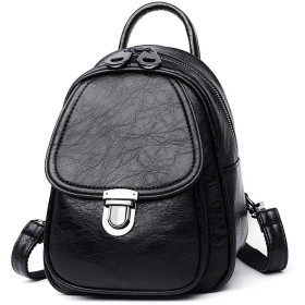 10代の少女の旅行バックパック、ブラック女性のバックパック女性のソフトレザーバックパック女性学校ショルダーバッグ