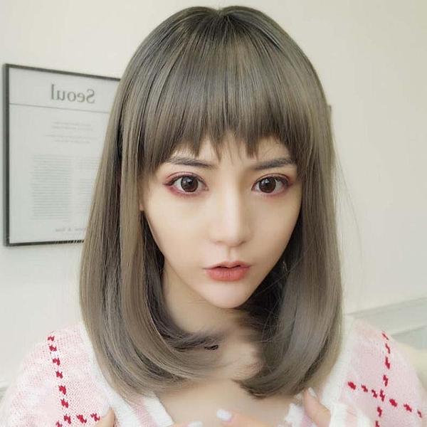 假髮女長直髮中長髮自然逼真短假髮奶奶灰假髮套圓臉長髮韓系鎖骨髮