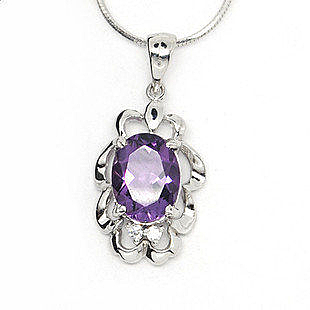 925銀天然紫水晶吊墜
