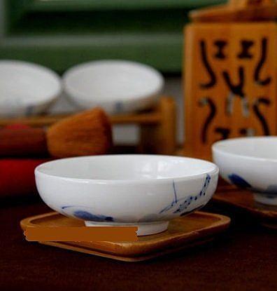 品茗茶杯碗杯茶盞青花荷花品