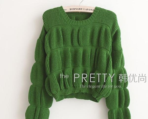 學生甜美燈籠袖毛衣
