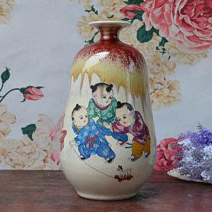 裂紋顏色釉花瓶 嬰戲圖