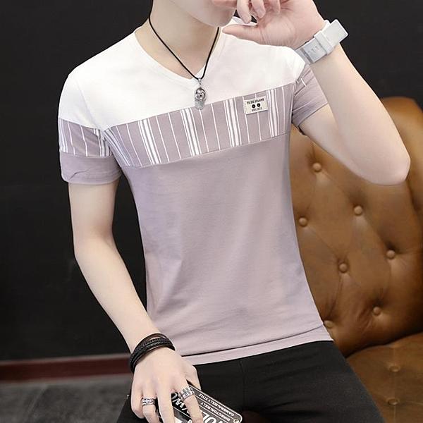 [超豐國際]男士短袖T恤v領夏季修身個性潮流半袖體恤男裝上衣1入