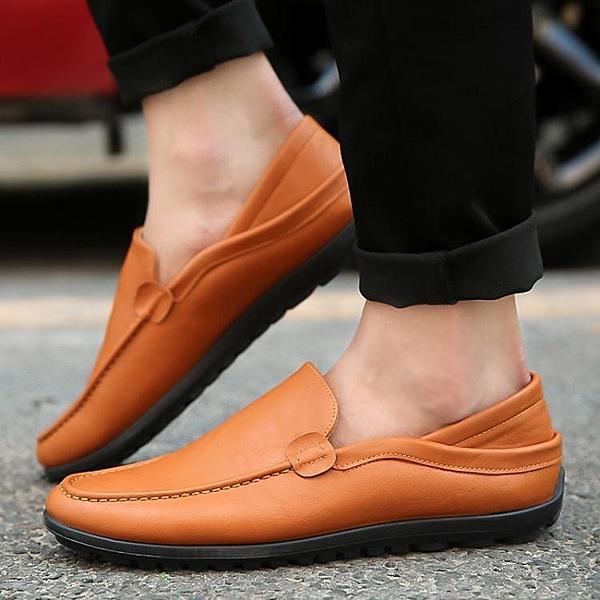 皮鞋 2020新款春季男士豆豆鞋韓版休閒鞋皮鞋一腳蹬懶人鞋子百搭男鞋潮